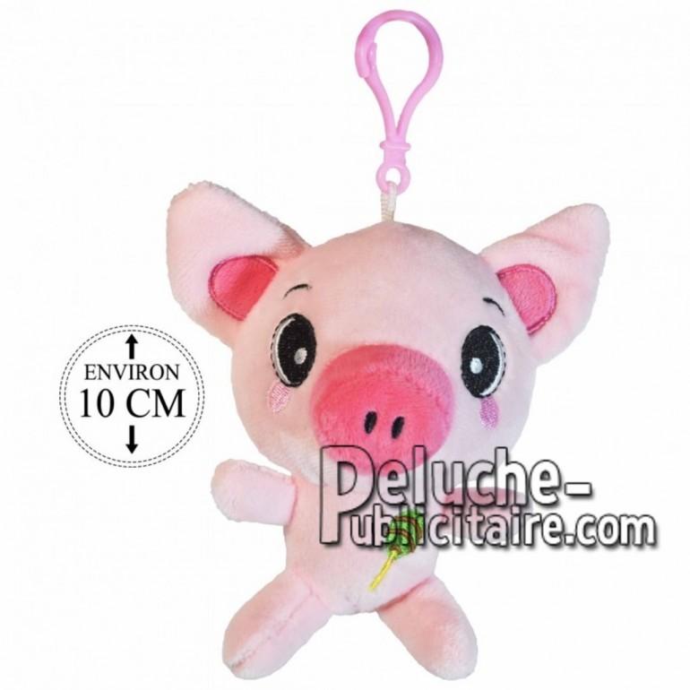 Achat porte-clés cochon boule rose 10cm. Peluche personnalisée.