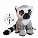 Achat peluche lémurien assis gris 28cm. Peluche personnalisée.
