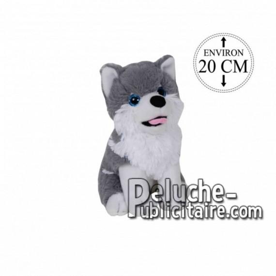Achat peluche husky assis gris 20cm. Peluche personnalisée.