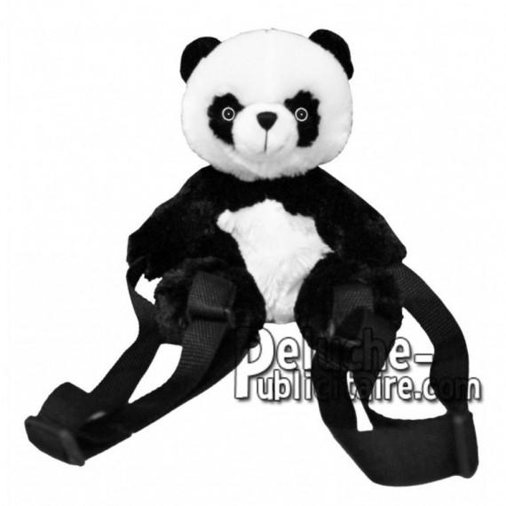 Achat sac à dos panda noir 25cm. Peluche personnalisée.