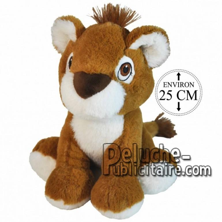 Achat peluche lion assis marron 25cm. Peluche personnalisée.