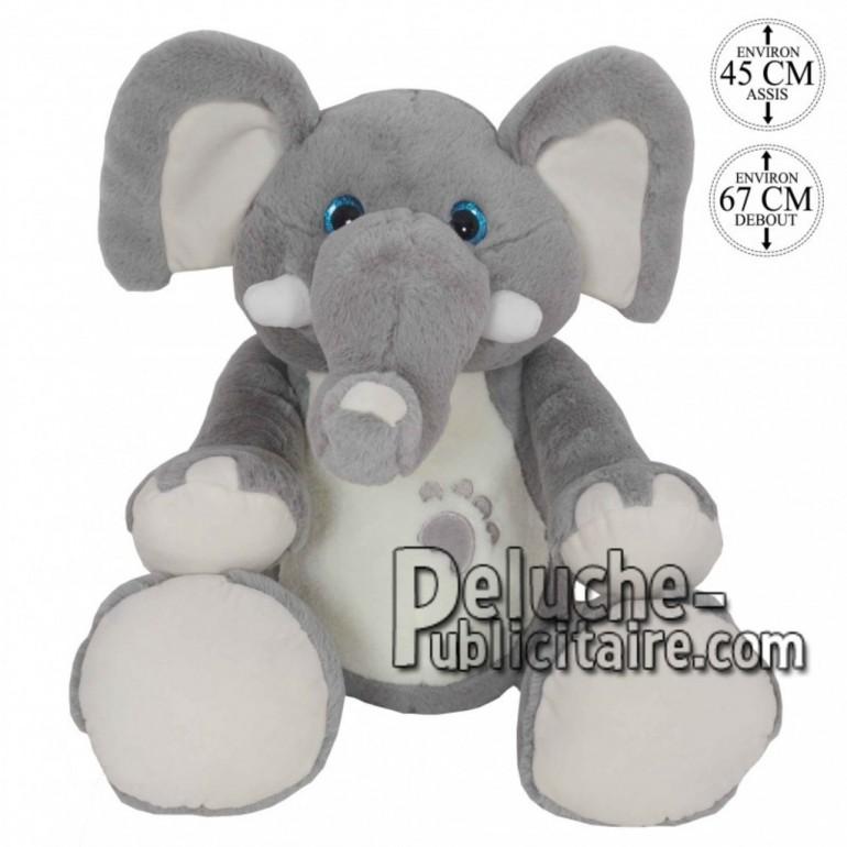 Achat peluche éléphant debout gris 67cm. Peluche personnalisée.