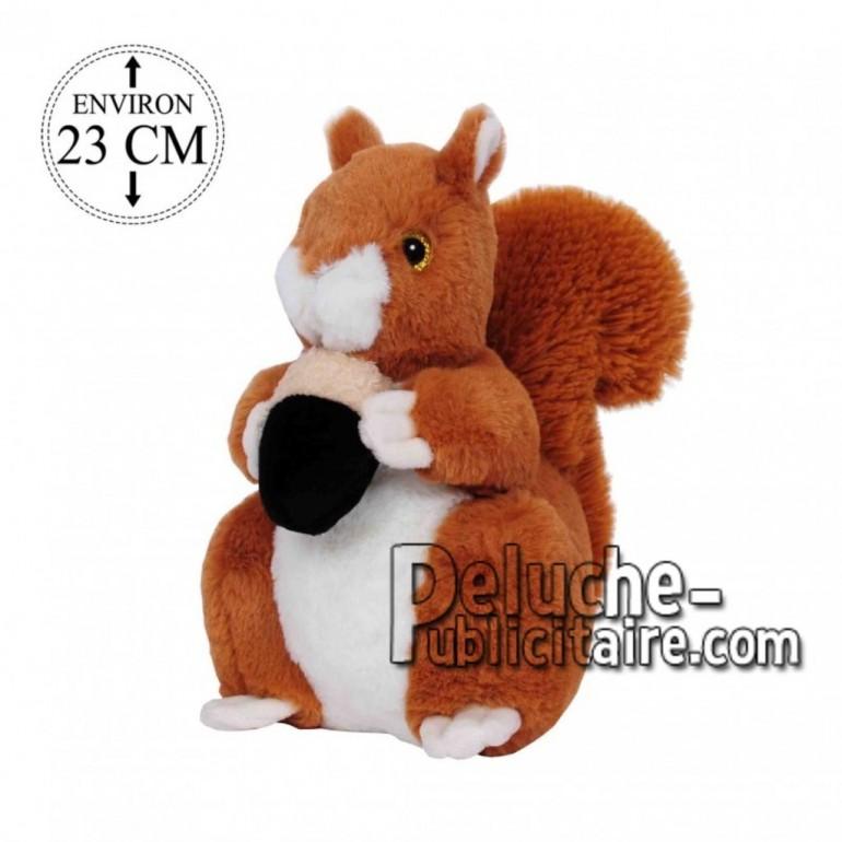 Achat peluche écureuil marron blanc 23cm. Peluche personnalisée.