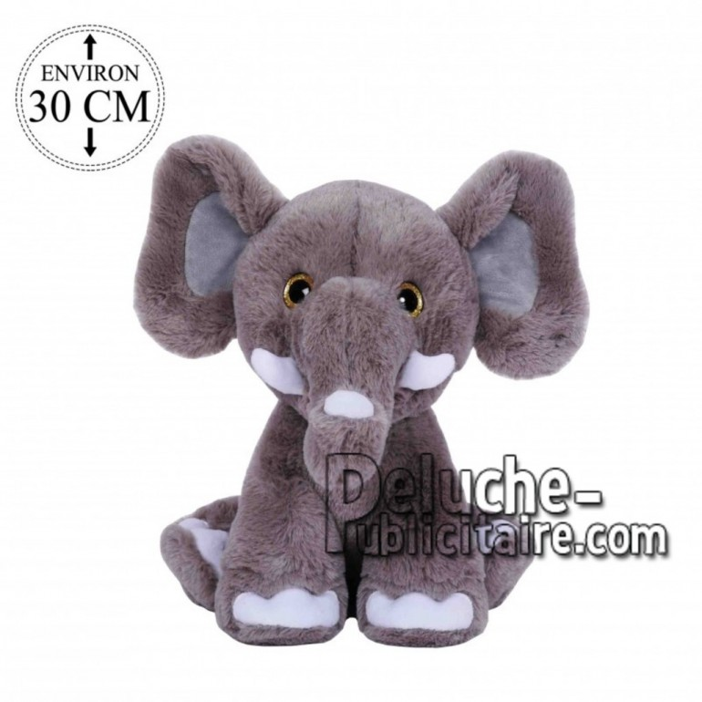 Achat peluche éléphant gris 30cm. Peluche personnalisée.