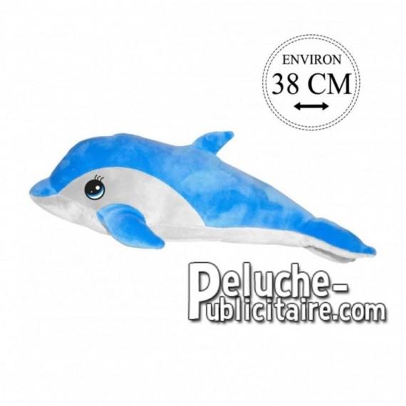 Achat peluche dauphin bleu 38cm. Peluche personnalisée.