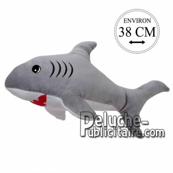 Achat peluche requin gris 38cm. Peluche personnalisée.