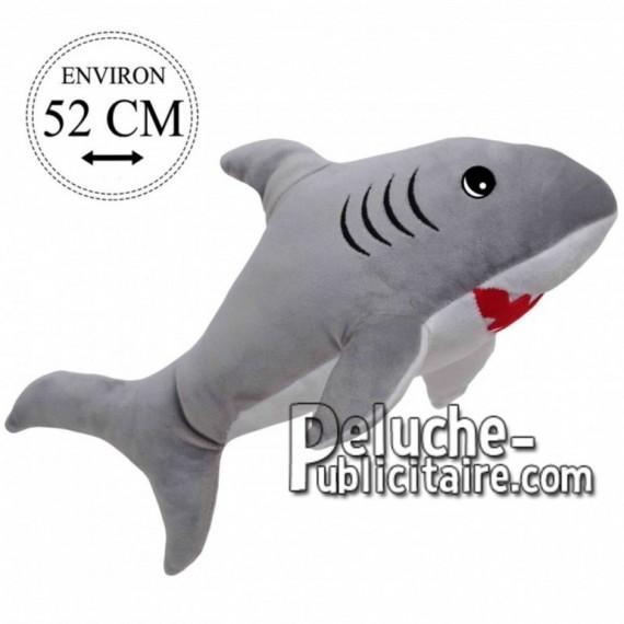 Achat peluche requin gris 52cm. Peluche personnalisée.