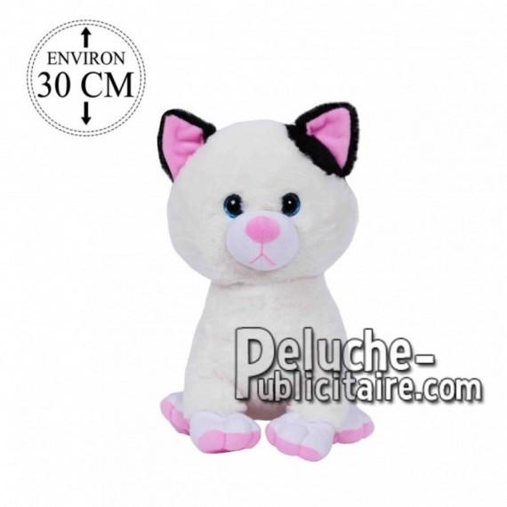 Achat peluche chat assis blanc 30cm. Peluche personnalisée.