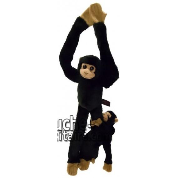 Achat peluche chimpanzé avec bébé noir 44cm. Peluche personnalisée.