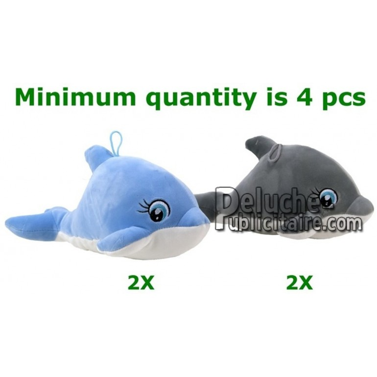 Achat peluche dauphin bleu 28cm. Peluche personnalisée.