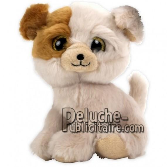 Achat peluche chien blanc 16cm. Peluche personnalisée.