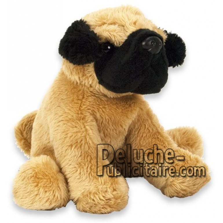 Achat peluche chien carlin beige 15cm. Peluche personnalisée.