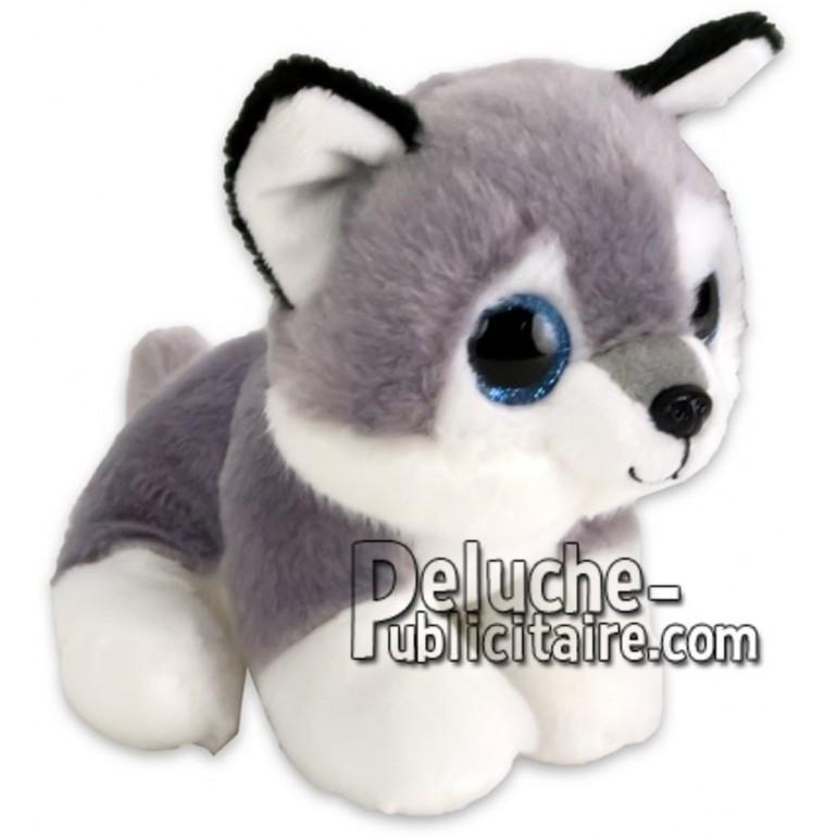 Achat peluche bébé husky gris 15cm. Peluche personnalisée.