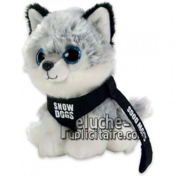 Achat peluche husky gris 15cm. Peluche personnalisée.