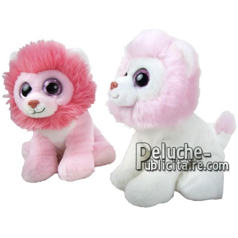 Achat peluche lion rose 21cm. Peluche personnalisée.