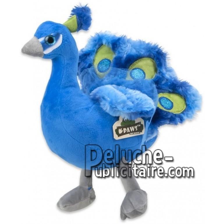 Achat peluche paon bleu 19cm. Peluche personnalisée.