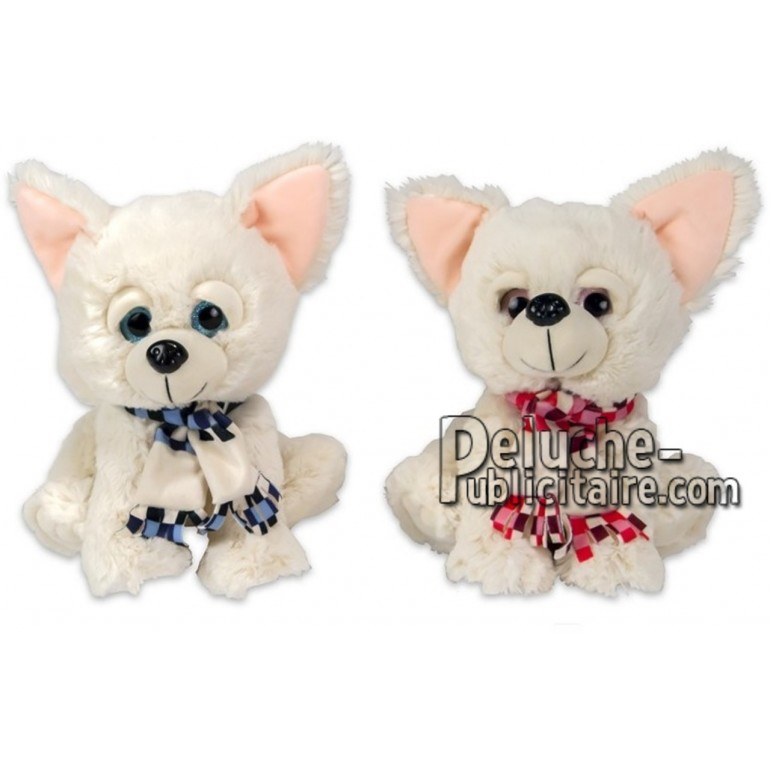 Achat peluche chien chiwawa blanc 25cm. Peluche personnalisée.