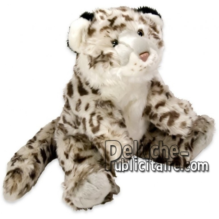 Achat peluche léopard des neiges blanc 40cm. Peluche personnalisée.