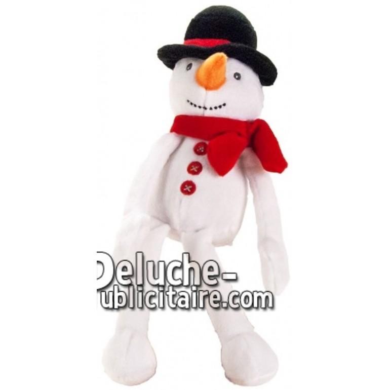 Achat peluche bonhomme de neige blanc 24cm. Peluche personnalisée.