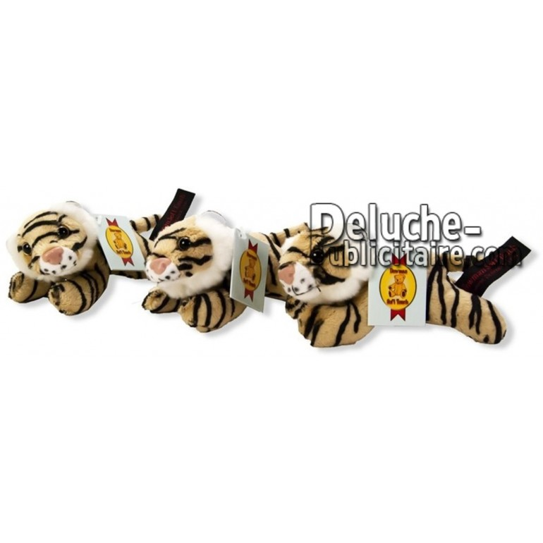 Achat peluche tigre couché marron 13cm. Peluche personnalisée.