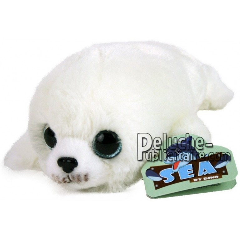 Achat peluche phoque blanc 22cm. Peluche personnalisée.