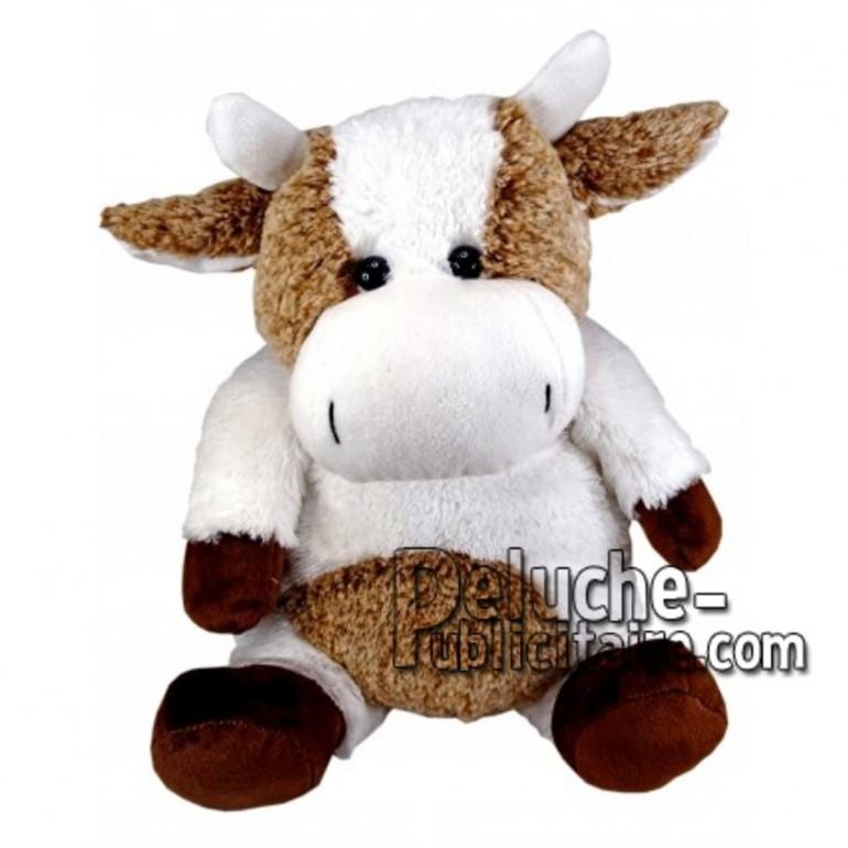 Achat peluche vache blanc 30cm. Peluche personnalisée.