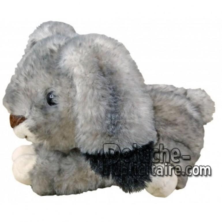 Achat peluche lapin couché gris 12cm. Peluche personnalisée.