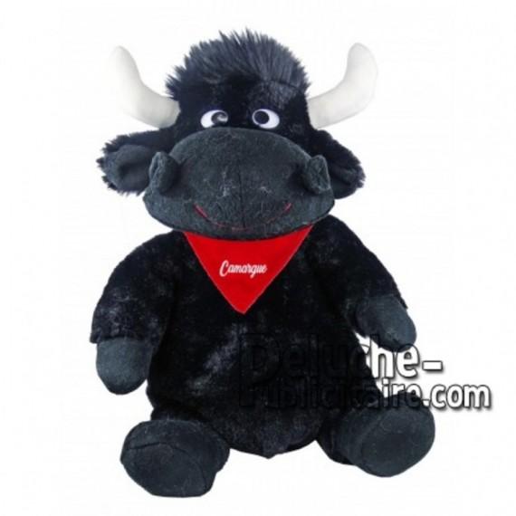 Achat peluche taureau noir 30cm. Peluche personnalisée.