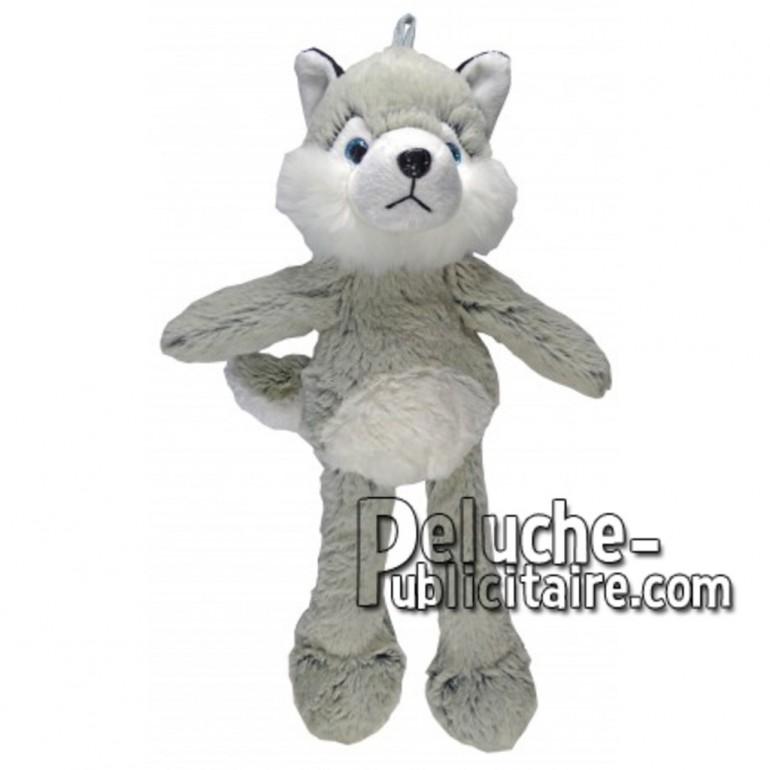 Achat peluche chien husky gris 35cm. Peluche personnalisée.