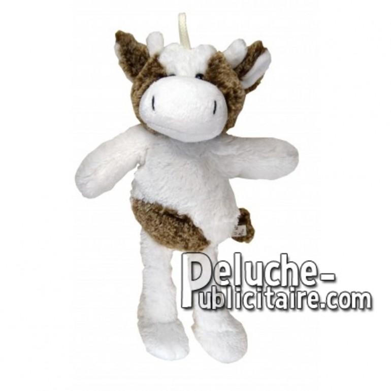Achat peluche vache blanc 35cm. Peluche personnalisée.