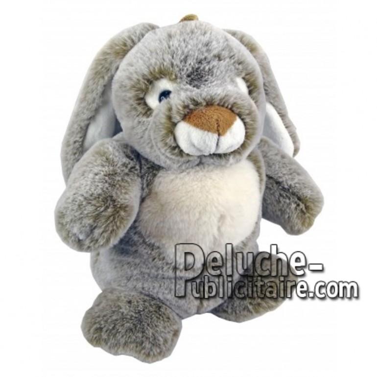Achat marionnette lapin gris 25cm. Peluche personnalisée.