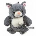 Achat marionnette chat gris 25cm. Peluche personnalisée.