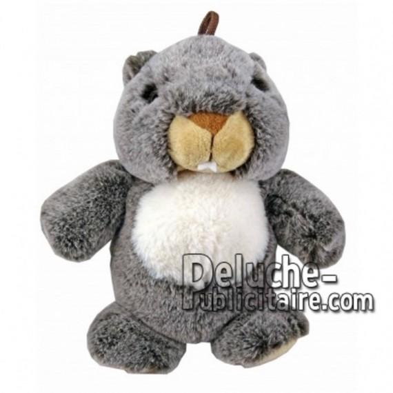 Achat marionnette marmotte gris 25cm. Peluche personnalisée.