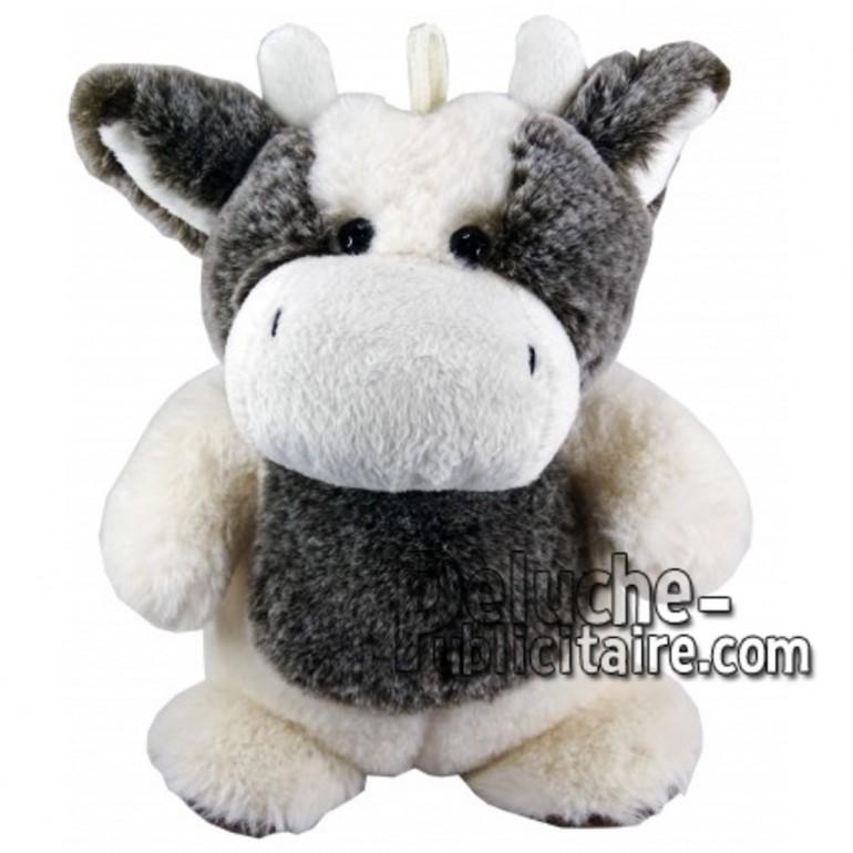 Achat marionnette vache blanc 25cm. Peluche personnalisée.