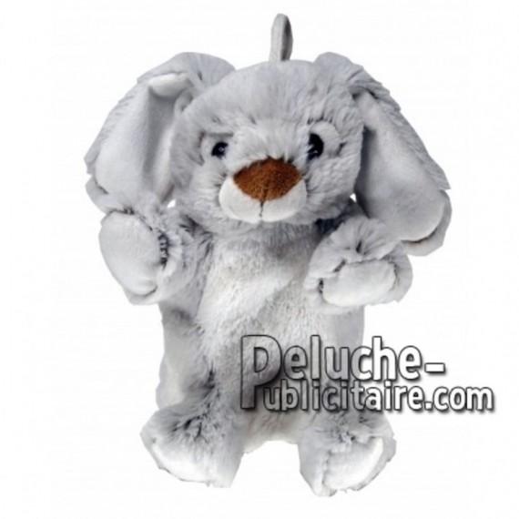 Achat marionnette lapin gris 20cm. Peluche personnalisée.