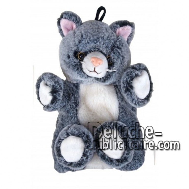 Achat marionnette chat gris 20cm. Peluche personnalisée.