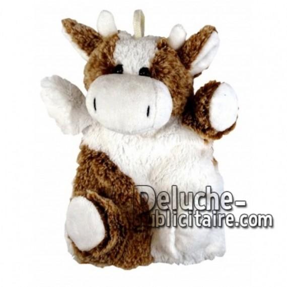 Achat marionnette vache blanc 20cm. Peluche personnalisée.