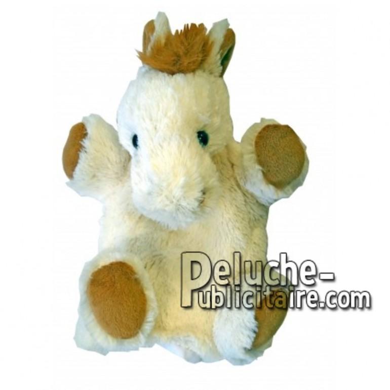 Achat marionnette cheval blanc 20cm. Peluche personnalisée.