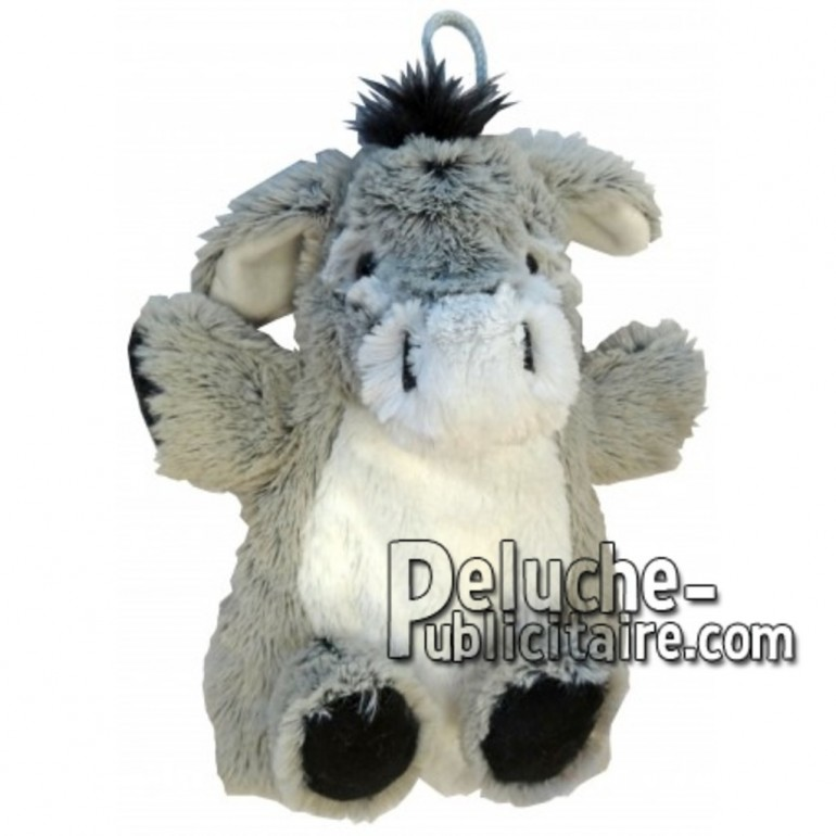 Achat marionnette âne gris 20cm. Peluche personnalisée.