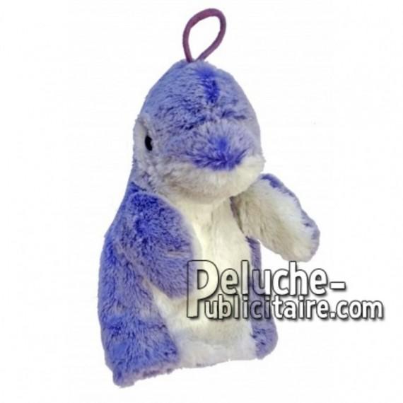 Achat marionnette dauphin bleu 20cm. Peluche personnalisée.