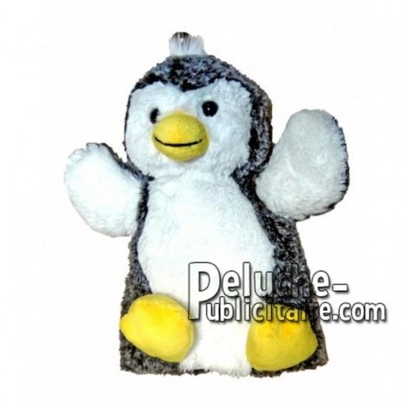 Achat marionnette pingouin blanc 20cm. Peluche personnalisée.