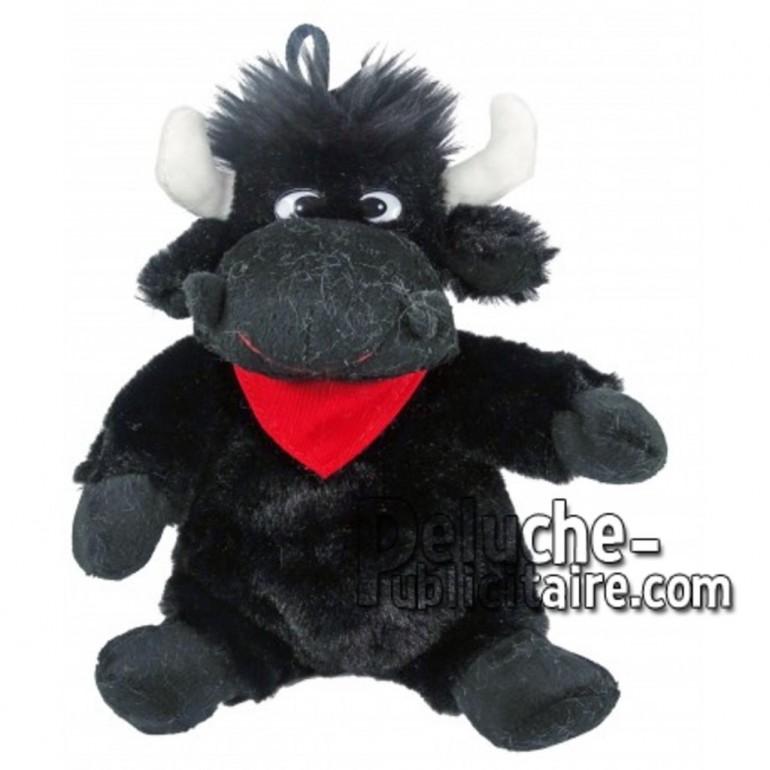 Achat peluche taureau noir 18cm. Peluche personnalisée.