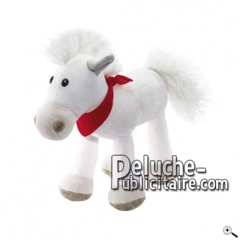 Achat peluche cheval blanc 23cm. Peluche personnalisée.