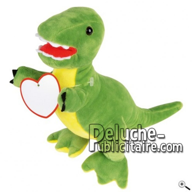 Achat peluche dinosaure vert 24cm. Peluche personnalisée.