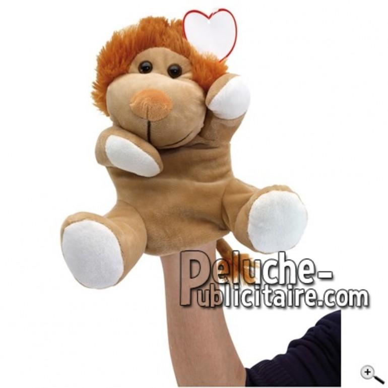 Achat marionnette lion marron 27cm. Peluche personnalisée.