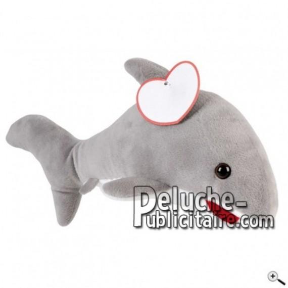Achat peluche dauphin bleu 23cm. Peluche personnalisée.