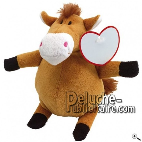Achat peluche cheval marron 19cm. Peluche personnalisée.