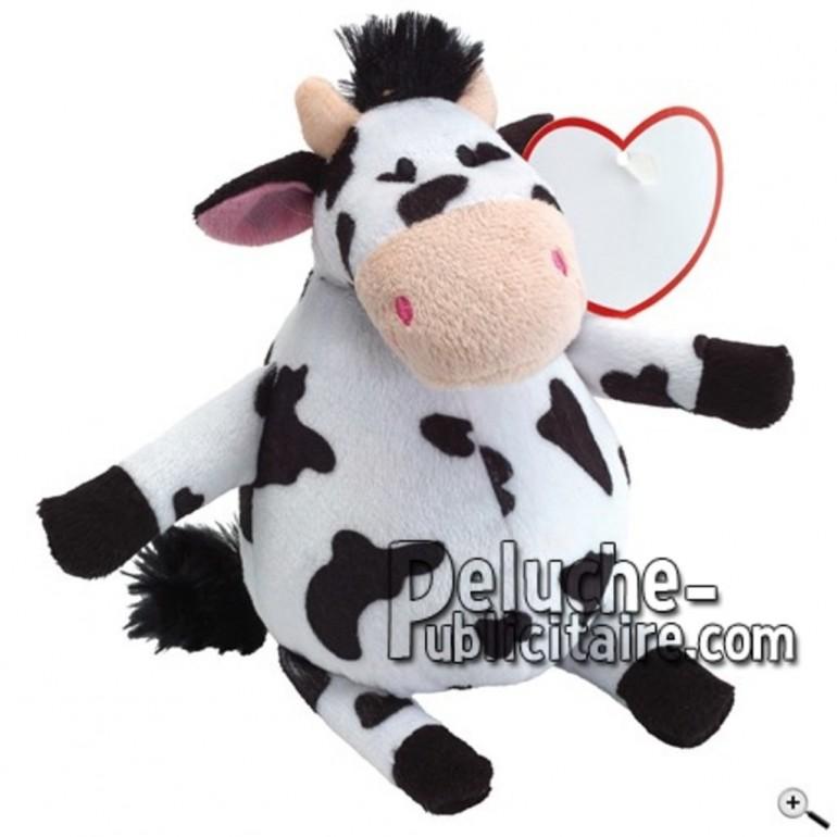 Achat peluche vache noir 19cm. Peluche personnalisée.