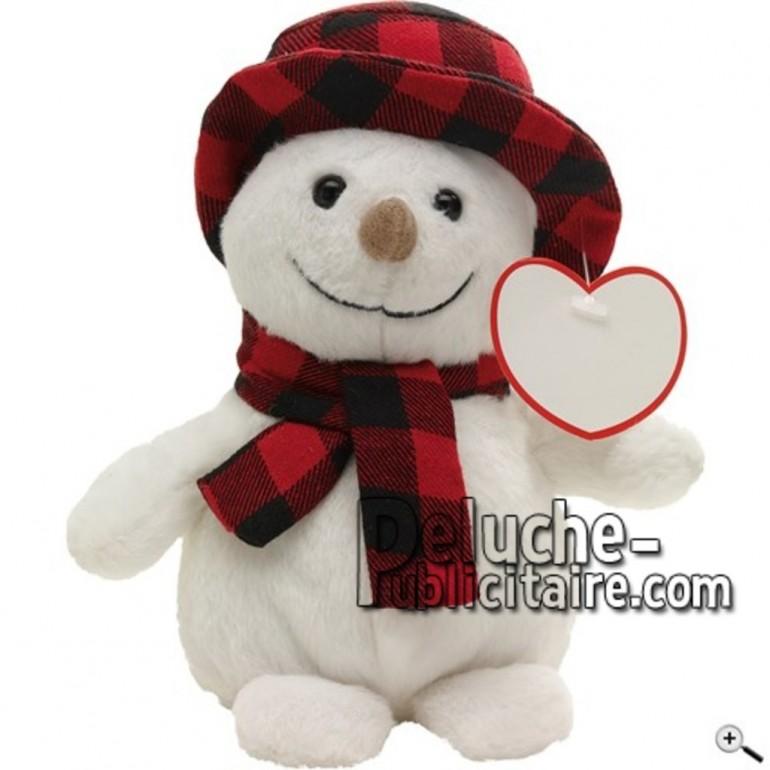 Achat peluche bonhomme neige blanc 19cm. Peluche personnalisée.