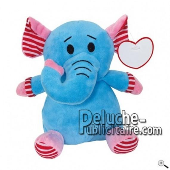 Achat peluche éléphant bleu 20cm. Peluche personnalisée.